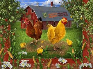 Собирать пазл Куры и цыплята онлайн