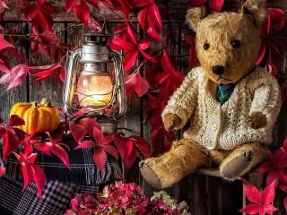 Собирать пазл Лампа и медвежонок онлайн