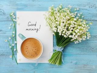 Собирать пазл Ландыши и кофе онлайн