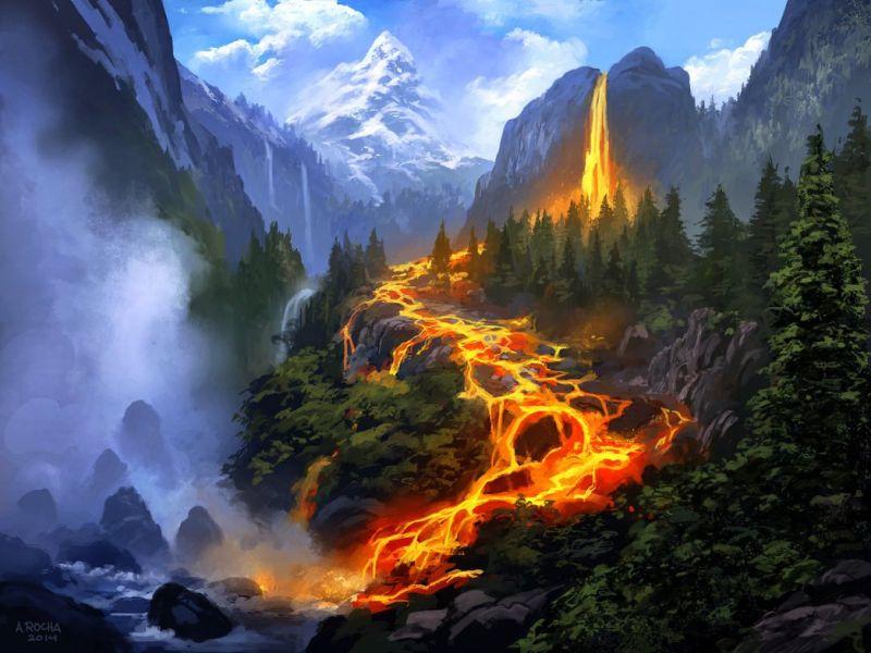 Пазл Собирать пазлы онлайн - Поток лавы