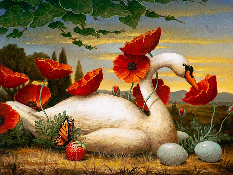 Пазл Собирать пазлы онлайн - Лебедь в маках