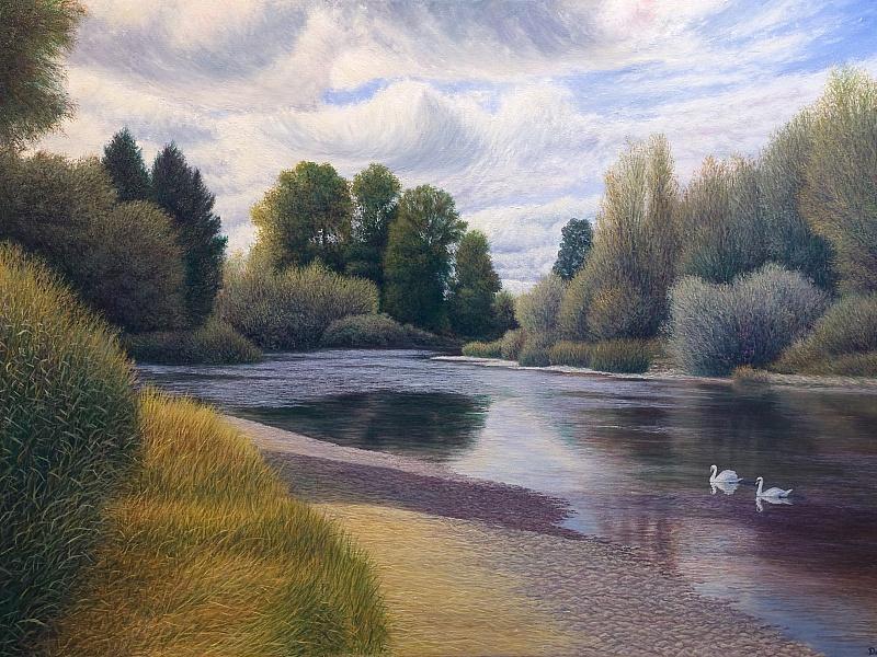 Пазл Собирать пазлы онлайн - Лебеди на реке