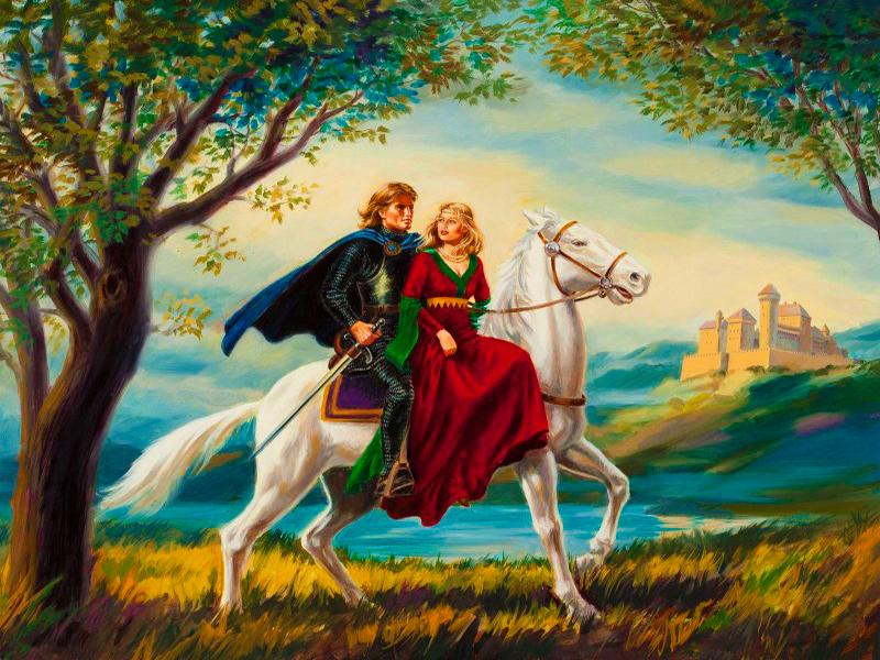 Пазл Собирать пазлы онлайн - Леди и рыцарь