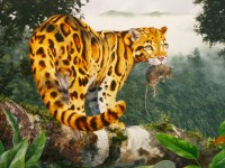 Собирать пазл Леопард с добычей онлайн