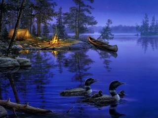 Собирать пазл Лесное озеро онлайн