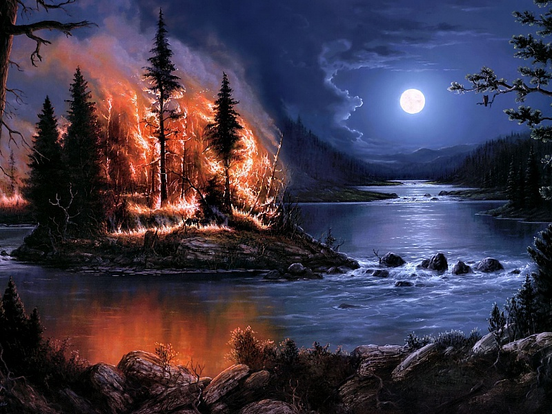 Пазл Собирать пазлы онлайн - Лесной пожар