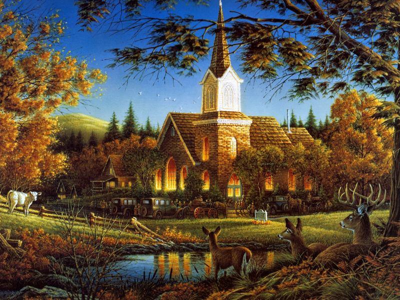 Пазл Собирать пазлы онлайн - Церковь в лесу