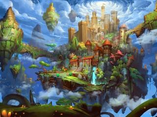 Собирать пазл Летающий замок онлайн