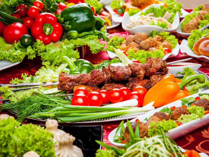 Пазл Собирать пазлы онлайн - Шашлык и овощи