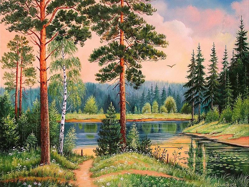 Картинки лесной пейзаж рисунок