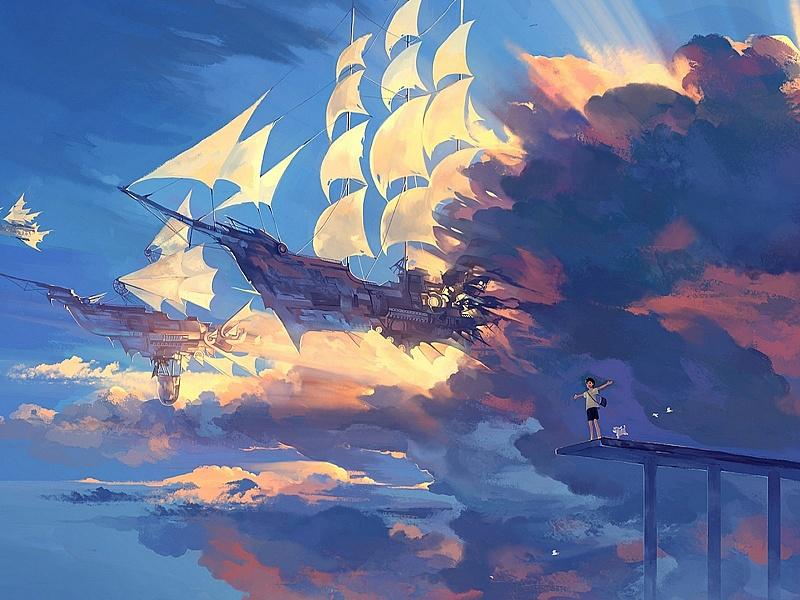 Пазл Собирать пазлы онлайн - Летучие корабли