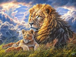 Собирать пазл Лев и львёнок онлайн