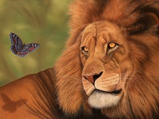 Собирать пазл Лев и мотылёк онлайн