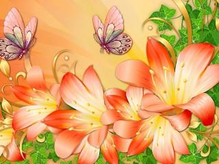 Собирать пазл Лилии и бабочки онлайн