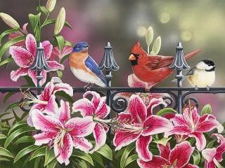 Собирать пазл Лилии и птички онлайн