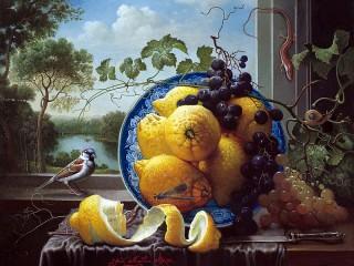 Собирать пазл Лимоны и виноград онлайн