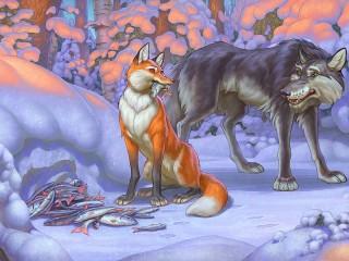 Собирать пазл Лиса и Волк онлайн