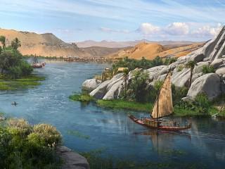Собирать пазл Лодка на Ниле онлайн