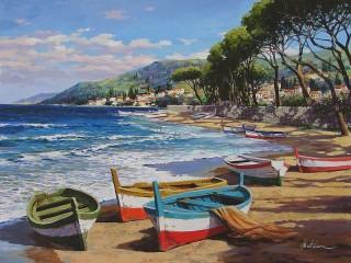 Собирать пазл Лодки на берегу онлайн