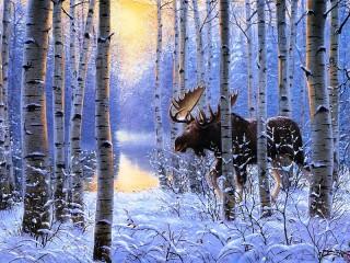 Собирать пазл Лось в зимнем лесу онлайн