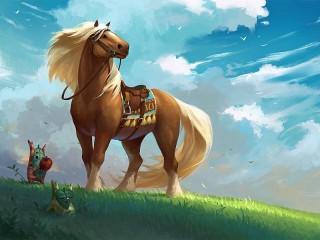 Собирать пазл Лошадь в поле онлайн
