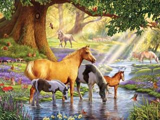 Собирать пазл Лошади на водопое онлайн