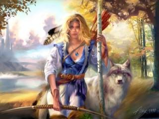 Собирать пазл Лучница и волк онлайн