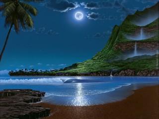 Собирать пазл Луна в заливе онлайн