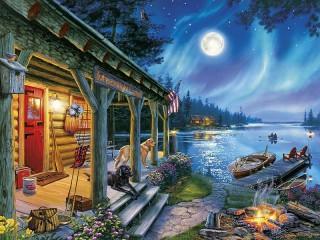Собирать пазл Лунная ночь онлайн