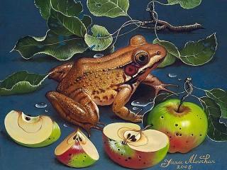Собирать пазл Лягушка и яблоки онлайн