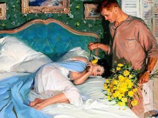 Собирать пазл Любимая спит онлайн