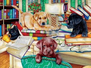 Собирать пазл Любители книг онлайн