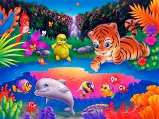 Собирать пазл Любопытный тигрёнок онлайн