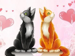 Собирать пазл Любовь и Котики онлайн