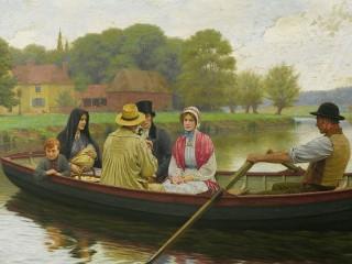 Собирать пазл Люди в лодке онлайн