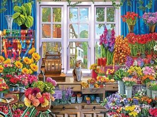 Собирать пазл Магазин цветов онлайн