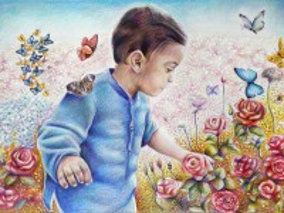Собирать пазл Мальчик и бабочки онлайн