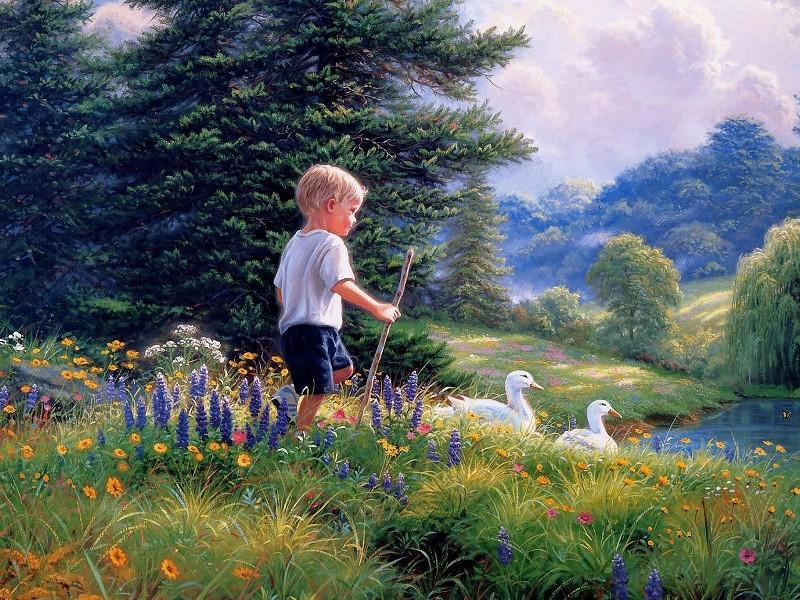 Пазл Собирать пазлы онлайн - Мальчик и гуси