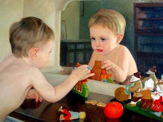 Собирать пазл Мальчик и зеркало онлайн