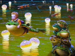 Собирать пазл Мальчик на лягушке онлайн