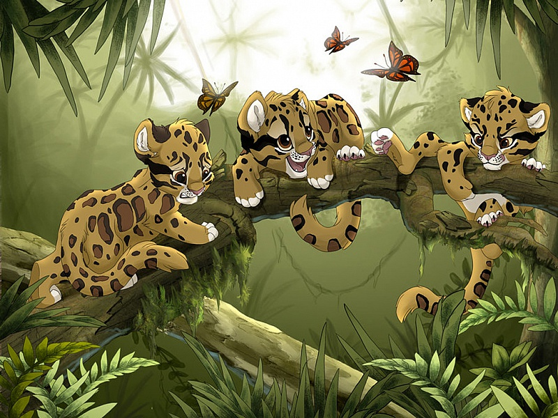 Пазл Собирать пазлы онлайн - Маленькие леопарды