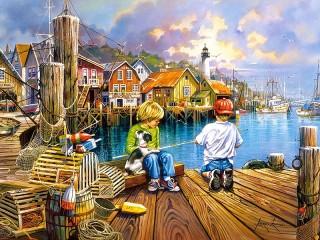 Собирать пазл Маленькие рыбаки онлайн