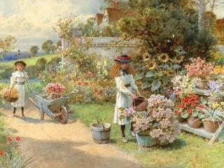 Собирать пазл Маленькие садовницы онлайн