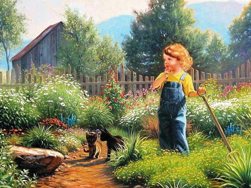 Пазл Собирать пазлы онлайн - Маленький огородник
