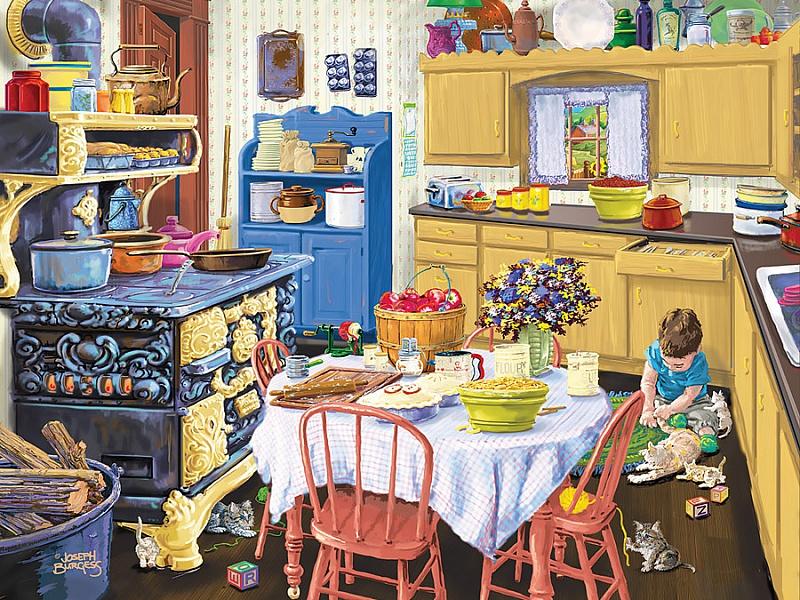 Пазл Собирать пазлы онлайн - Малыш на кухне
