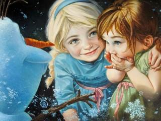 Собирать пазл Малышки Эльза и Анна онлайн