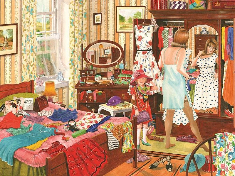 Пазл Собирать пазлы онлайн - Мама с дочкой - модницы