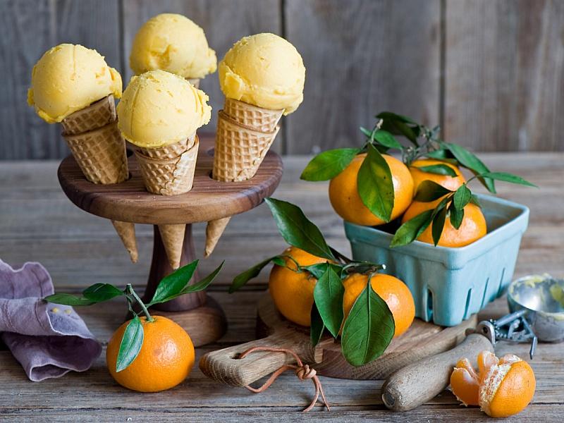 Пазл Собирать пазлы онлайн - Мандариновое мороженое