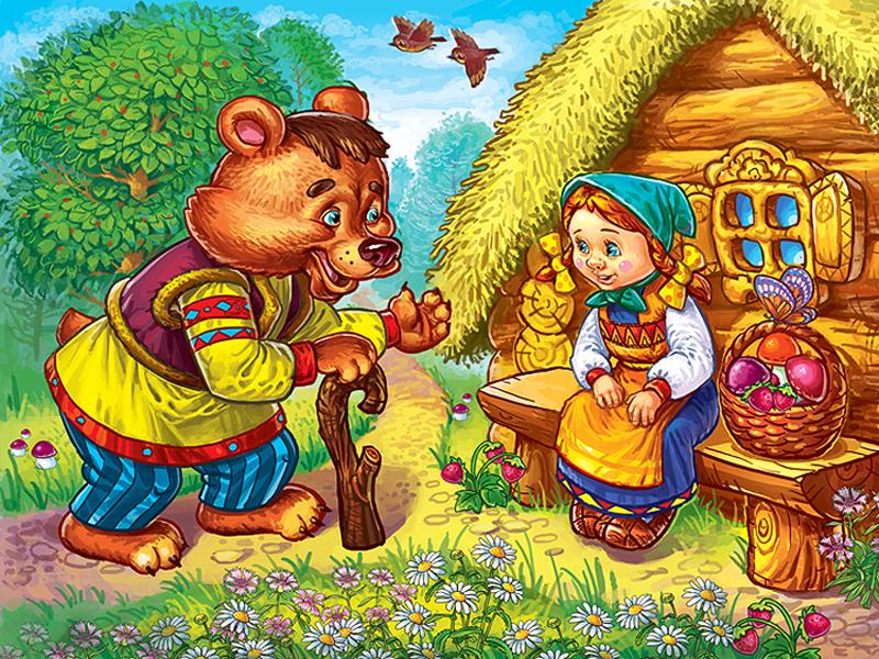 Пазл Собирать пазлы онлайн - Маша и медведь
