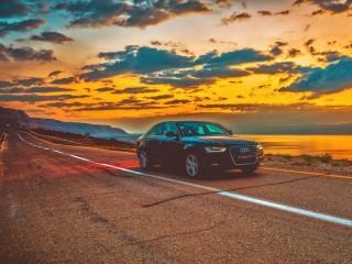 Собирать пазл Машина Дорога Закат онлайн